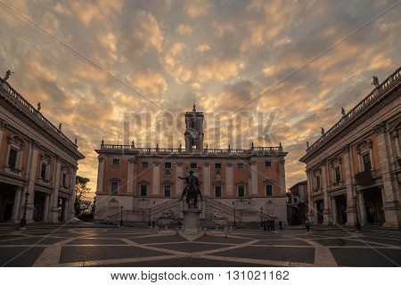 Rome, Italy: Capitolium square, Italian: Piazza del Campidoglio in the beautiful sunrise