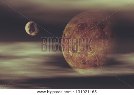 3D render of a space background with fictional planets