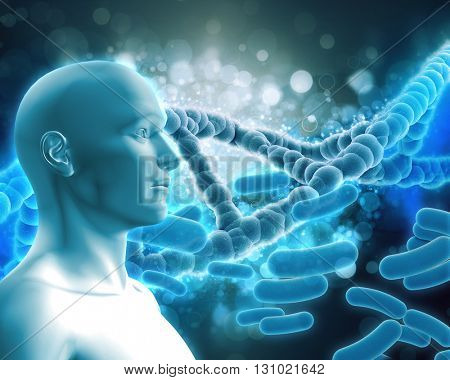 3D render of a medical background with DNA strands, male figure and virus cells