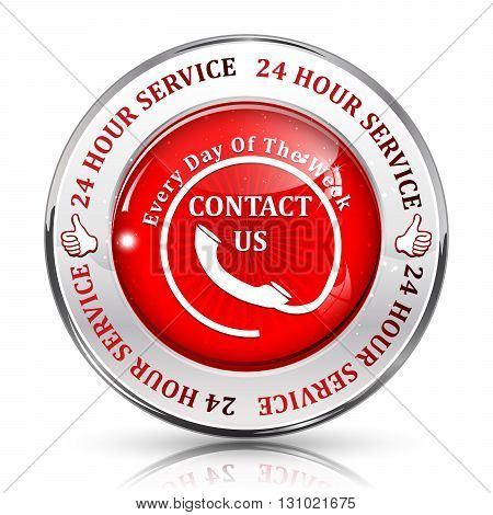 Full Time Support Service. 24/7 hour service. Contact us - metallic red shiny button, label and sign.