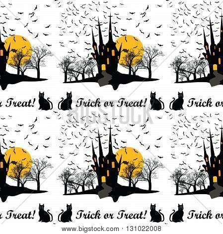Halloween Pattern for fabric, wrapping paper. Trick or Treat - Halloween pattern with castle, bats and cats. Print colors used. Pattern can be found in swatch panel