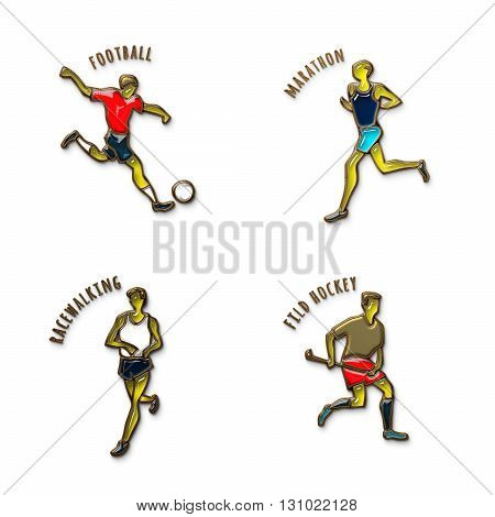 Athlete Icon. Football. Marathon. Racewalking. Fild Hockey. Summer games. Sport icons with sportsmen for competitions or championship design. Gold and colored glass. 3D illustration.