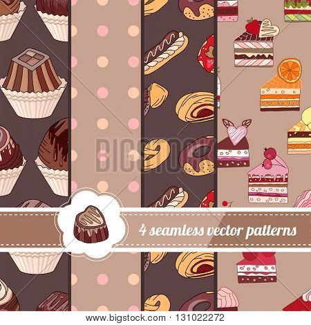 Collection of seamless bright patterns with stylized desserts. Endless texture for your design, announcements, greeting cards, posters, advertisement.