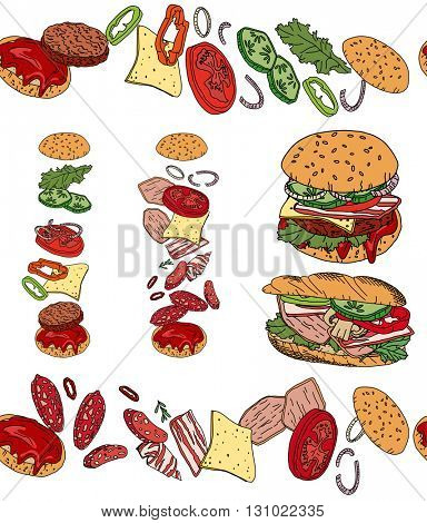 Set with different burgers. Objects isolated on white. Seamless horizontal  pattern brushes with burger and pizza ingrediets. For your design, announcements, cards, posters, restaurant and cafe menu.