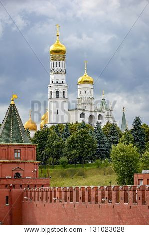 View of the wall gardens and Kremlin's Cathedral in Moscow