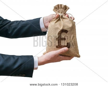 Hands Of Business Man Holds Bag Full Of Money With British Pound