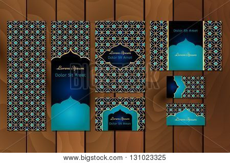 Business set or menu set with traditional arabic geometric pattern with stars. Abstract vector background. Indian Arabic Islam motifs. Brochure menu or invitation cover and business card designs.