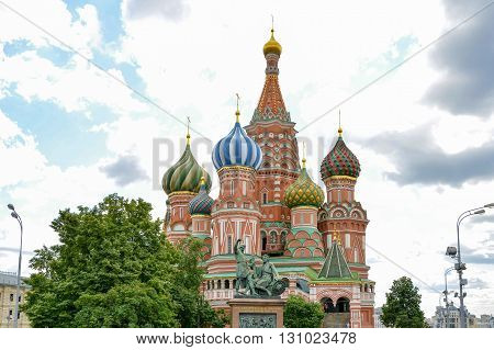 Facade of the famous St. Basil's Cathedral with its characteristic colors and architecture in Red Square in Moscow