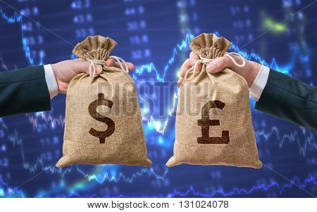 Exchange Currency Concept. Hands Hold Bag Full Of Money - Dollar