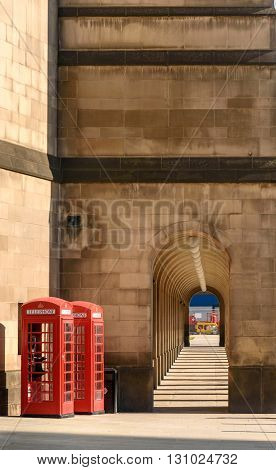 Traditional Red Phone Booths in Manchester England ,UK
