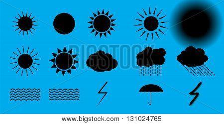 Set of nature symbols: Sun, Clouds, Thunderstorm and Umbrella. Vector Illustration EPS10
