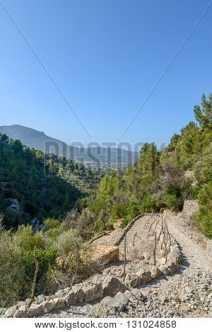 small hiking path in the beautiful nature of mallorca mountains