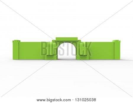 3d illustration of simple gate with wall. low poly triangles and polygons style.ancient building. icon for game web. green rocks color. white background isolated with shadow. simple to use