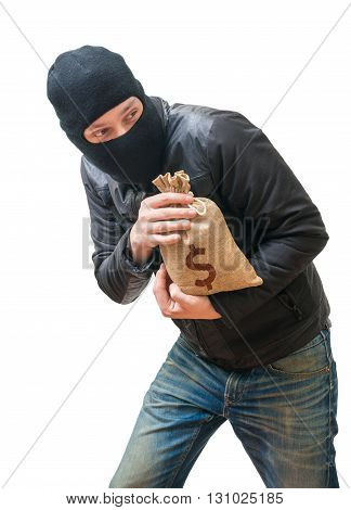 Thief Or Robber Is Stealing Bag Full Of Money With Dollar Sign.