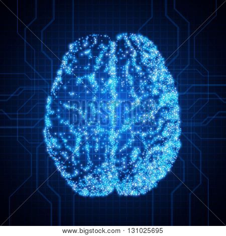 Background with brain, The concept of thinking, Brain neurons. Abstract technology background