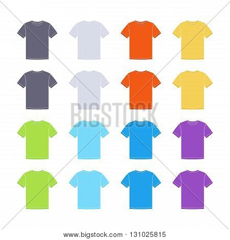 Male colored short sleeve t-shirts templates collection. Front and back views. Vector flat illustrations
