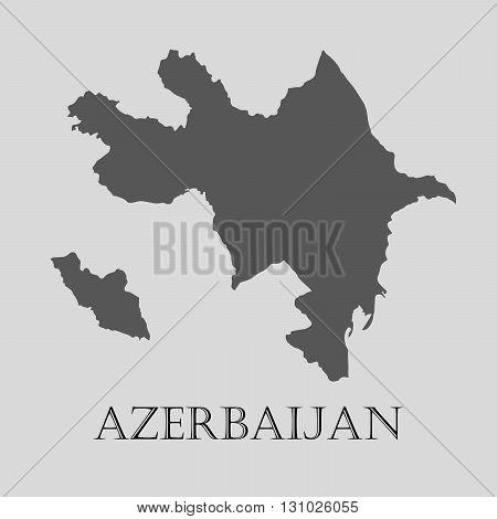Black Azerbaijan map on light grey background. Black Azerbaijan map - vector illustration.