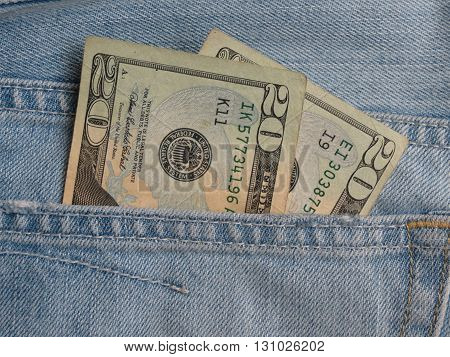 Usd Notes In Blue Jeans Pocket