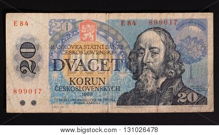 banknote from former Czechoslovakia - now withdrawn - from the 1980s - 20 CSK