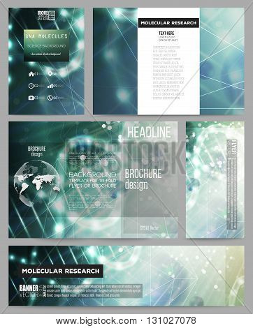 Set of business templates for presentation, brochure, flyer or booklet. DNA molecule structure on dark geen background. Science vector background.