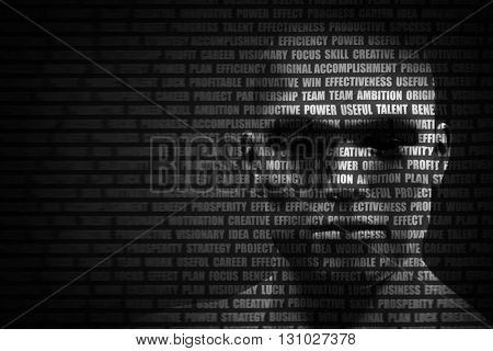 Man face blended with flowing list of motivational words. Concept of self motivation, future planning, intelligence. 3D rendering