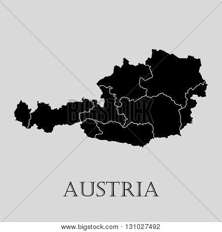 Black Austria map on light grey background. Black Austria map - vector illustration.