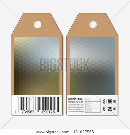 Vector tags design on both sides, cardboard sale labels with barcode. Blurred background. Polygonal design, geometric hexagonal background.
