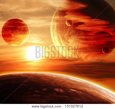Beautiful sunset, cloud and planet. Elements of this image furnished by NASA. 3d render