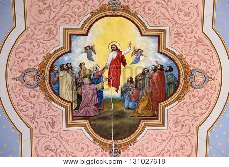 STITAR, CROATIA - AUGUST 27: Ascension of the Lord, fresco in the church of Saint Matthew in Stitar, Croatia on August 27, 2015