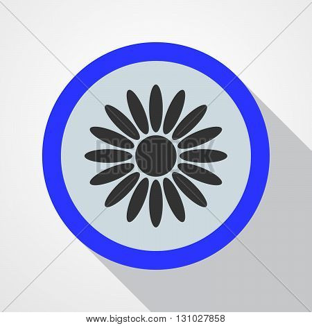Icon blue with a black flower in the middle. Flat blue icon. Long shadow. Vector illustration