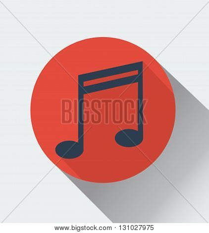 Music note sign icon. Vector, flat, longshadow.