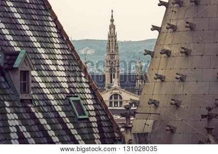 Vienna City Hall seen from St. Stephen's Cathedral. Vienna Austria.