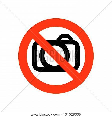 Sign prohibiting photographing - vector illustration. No photography allowed sign.