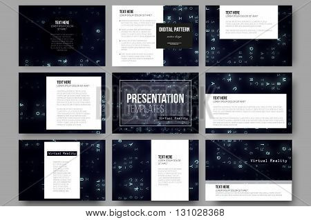 Set of 9 vector templates for presentation slides. Virtual reality, abstract technology background with blue symbols, vector illustration.