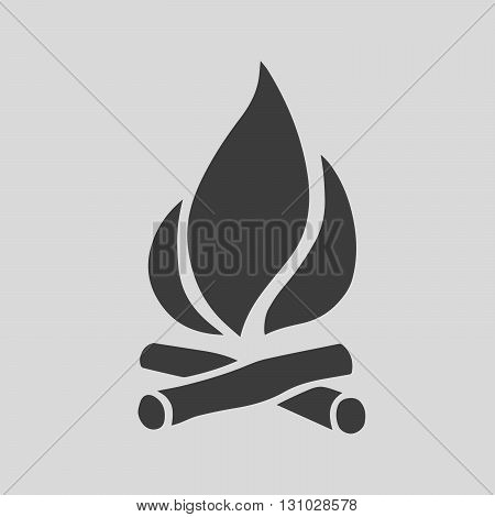 Fire black icon on a gray background. Simple flat sign of fire - vector illustration.