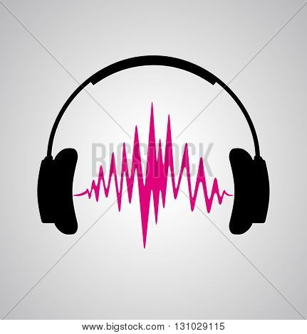 headphones icon with sound wave beats. Vector flat illustration headphones icon with sound wave beats. Vector flat illustration