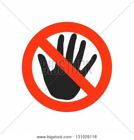 No entry. STOP sign. Black hand sign isolated on white background. Red stop symbol in a crossed circle. Hand sign for prohibited activities. Vector illustration