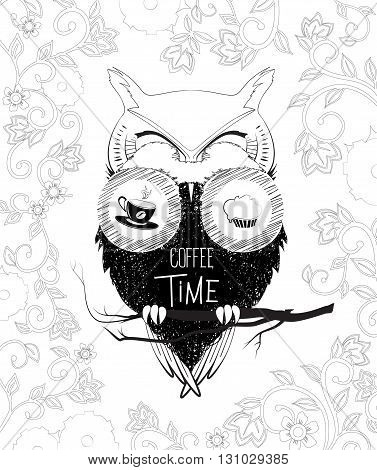 Coffee time owl in binoculars. Vector doodle illustration on floral background. Sketch