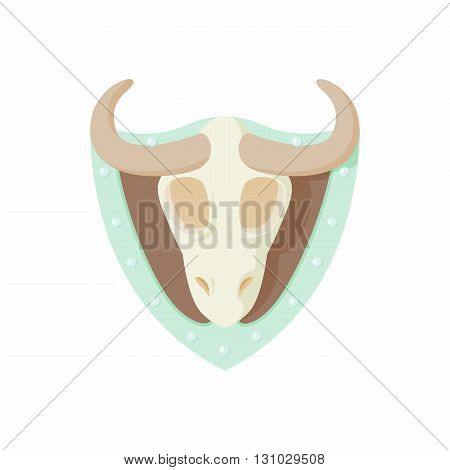 Stuffed bull icon in cartoon style isolated on white background. Hunting and collecting symbol