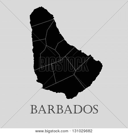 Black Barbados map on light grey background. Black Barbados map - vector illustration.
