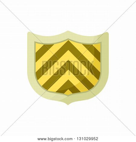 Striped shield icon in cartoon style isolated on white background. Protection and security symbol