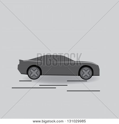 Gray vector car illustration simple abstract with lines