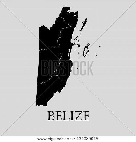 Black Belize map on light grey background. Black Belize map - vector illustration.