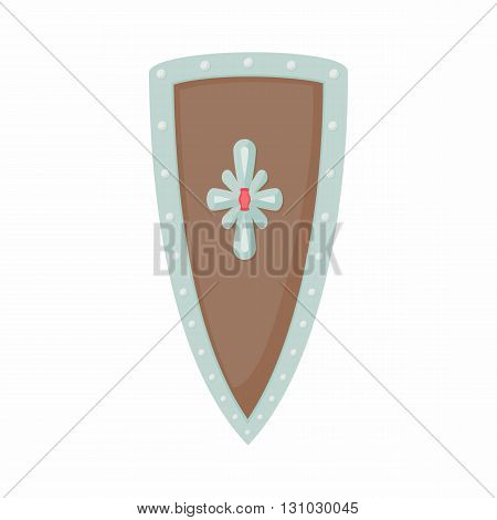 Angled shield with ornaments icon in cartoon style isolated on white background. Protection and security symbol