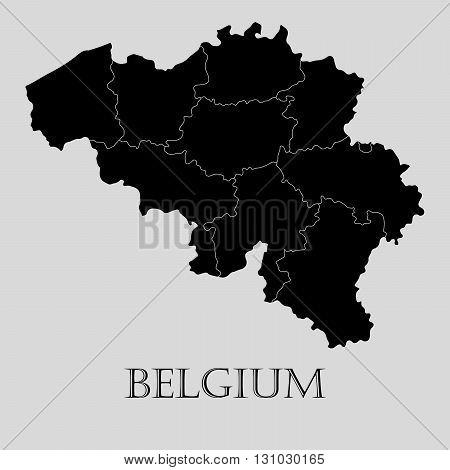 Black Belgium map on light grey background. Black Belgium map - vector illustration.