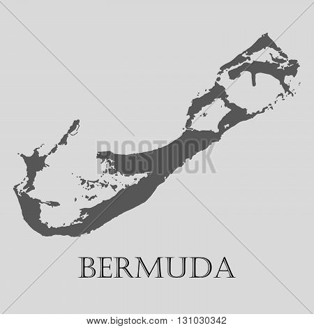 Black Bermuda map on light grey background. Black Bermuda map - vector illustration.