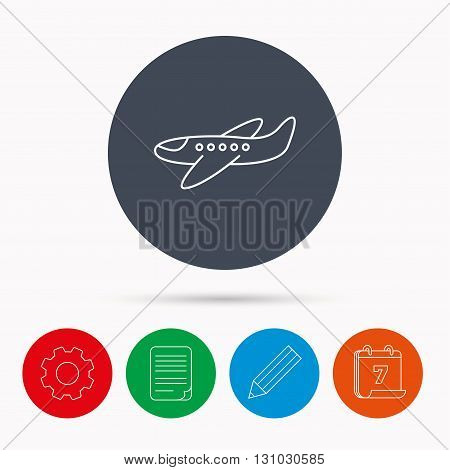 Airplane icon. Aircraft travel sign. Flight transport symbol. Calendar, cogwheel, document file and pencil icons.