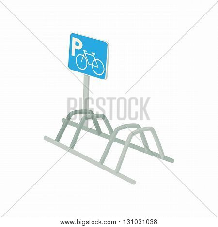 Bicycle parking icon in cartoon style isolated on white background. Transport and service symbol