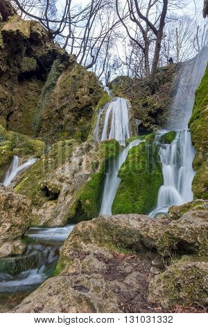 Beautiful Bachkovo waterfalls cascade in Rhodopes Mountain, Plovdiv region, Bulgaria