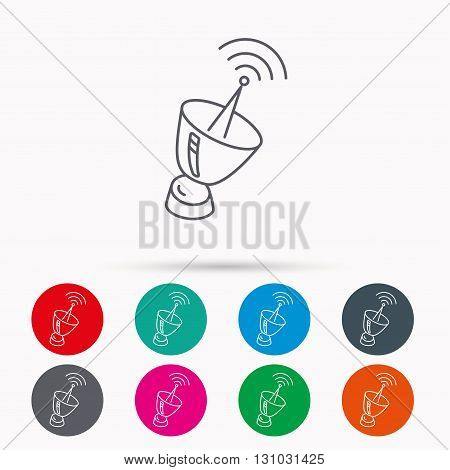 Antenna icon. Sputnik satellite sign. Radio signal symbol. Linear icons in circles on white background.
